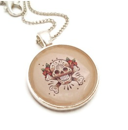 Tattoo Inspired Sugar Skull Rockabilly Necklace, Tattoo Flash Day Dead Skull Crossbones, Dia De Los Muertos Tattoo Art Skull