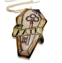 Rockabilly Necklace Tattoo Style Coffin Skeleton Key, Fate Tattoo