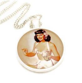 Old School Pinup Girl Rockabilly Necklace Brunette White Swimming Suit Playing Cards, Retro Pinup Necklace