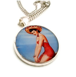 Old School Pinup Girl Rockabilly Necklace Brunette Red Swimsuit Sombrero Beach