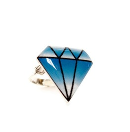 Tattoo Style Blue Diamond Ring, Traditional Rockabilly Tattoo Art