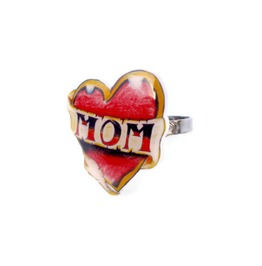 Red Mom Tattoo Heart Adjustable Ring, Rockabilly, Tattoo Art