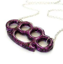Rockabilly Purple Glitter Brass Knuckles Necklace, Knuckle Duster Necklace