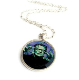 Frankenstein Green Purple Necklace, Kustom Kulture, Psychobilly, Horrorbilly