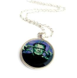 Frankenstein Green Purple Necklace, Kustom Kulture, Psychobilly, Horrorbilly