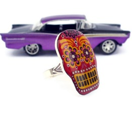 Calavera Red Sugar Skull Ring, Mexican Art, Rockabilly, Psychobilly Tattoo Art
