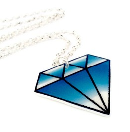 Tattoo Inspired Blue Diamond Rockabilly Necklace, Old School Diamond Tattoo Art
