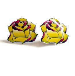 Lemon Lime Purple Rose Tattoo Inspired Earrings, Rockabilly Yellow Green Purple Flower Tattoo Art Earrings