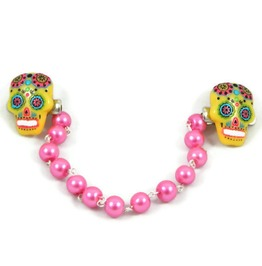 Sweater Clip Yellow Pink Sugar Skull Pink Pearls, Rockabilly, Pinup