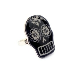 Black White Sugar Skull Ring, Mexican Art, Calavera, Rockabilly, Psychobilly Tattoo Art