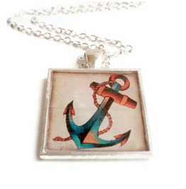 Rockabilly Tattoo Inspired Anchor Necklace, Sailor Jerry Inspired Tattoo Art