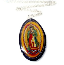 Guadalupe Necklace Gold, Red & Green Outlined Black, Virgin Mary Rockabilly Necklace