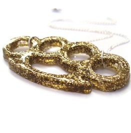 Rockabilly Gold Glitter Brass Knuckles Necklace