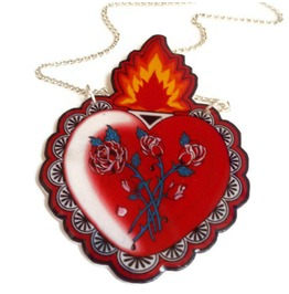 Sacred Heart Tattoo Necklace, Red Milagro Heart Rockabilly Necklace