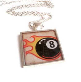 Tattoo Inspired Flaming Eight Ball Necklace, Kitsch, Kustom Kulture, Car Culture, Tattoo Art