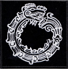 Mayan Ouroborus Embroidered Patch, 3,2 X 3,2 Inch