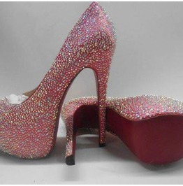 """Candy"" Crystal Super High Heel Pump Red Soles"