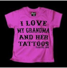 "Love Grandma Tattoos Tee ""Pink"""