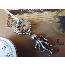Broadstone Kraken Steampunk Necklace Steampunk Pendant Octopus Necklace Steampunk Jewellery Steamretro