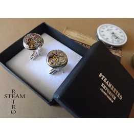 Gift Boxed Mens Steampunk Steampunk Cufflinks 16mm Round Vintage Chaika Watch Movements. Vintage Upcycled Mens Cuff Links
