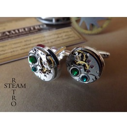 Gift Boxed Mens Steampunk Steampunk Cufflinks Green 16mm Round Vintage Chaika Watch Movements. Vintage Upcycled Mens Cuff Links