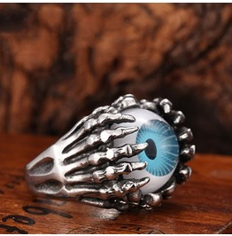 Blue Eyeball Ring Skull Ring Titanium Stainless Steel Men Ring Punk Ring Vintage Ring