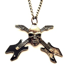Awesome! Electric Guitar Skull Bronze Effect Necklace