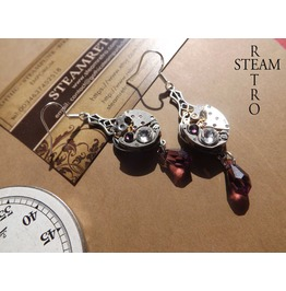 Steampunk Amethyst Art Nouveau Watch Movement Earrings Steampunk Earrings Earrings Steampunk Jewelry