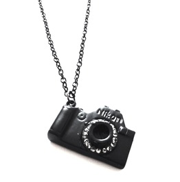Eyecatching! Black Camera Diamante's Long Chain Necklace