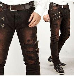 Double belt grunge wine jeans jeans