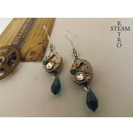 Steampunk Emerald Art Nouveau Watch Movement Earrings Steampunk Earrings Earrings Steampunk Jewelry