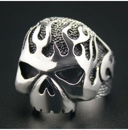 Huge & Heavy Solid 316 L Stainless Steel Fire Skull Biker Ring Gothic Ring Skull Ring