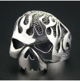 Huge & Heavy Solid 316 L Stainless Steel Fire Skull Biker Ring Gothic Ring Skull Ring