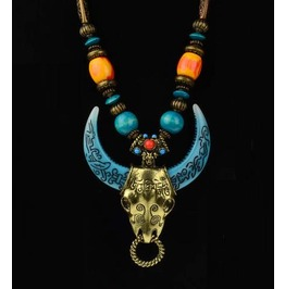 Wild! Engraved Wood & Copper Blue Horned Bull Necklace