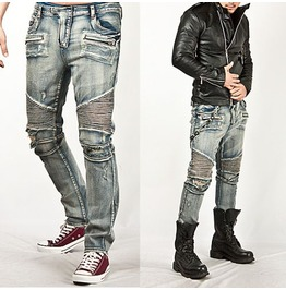 Striking Distressed Light Blue Designer Skinny Biker Jean