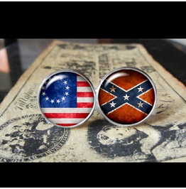 Union Vs. Confederate Flags World Collection Cuff Links Men,Weddings,Groomsmen,Grooms,Dads,Gifts