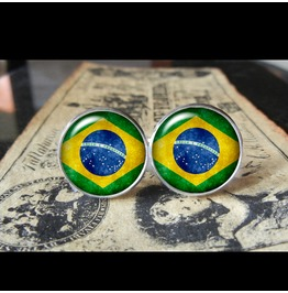 Brazil Flags World Collection Fifa World Cup Host Cuff Links Men,Weddings,Groomsmen,Grooms,Dads,Gifts