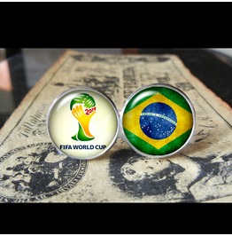 Brazil Fifa World Cup 2014 Host Cuff Links Men,Weddings,Groomsmen,Grooms,Dads,Gifts