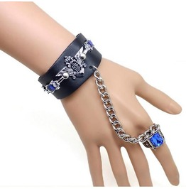 Men's Black Adjustable Punk/Gothic Faux Leather Cuff Blue Gems Ring Chain