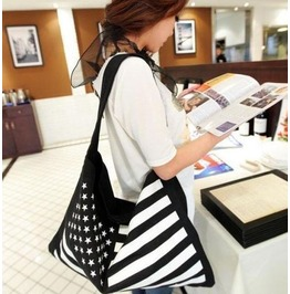 Casual Stars Stripes Canvas Shoulder Handbag