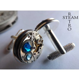 Gift Boxed Mens Steampunk Steampunk Cufflinks Blue 16mm Round Vintage Chaika Watch Movements. Vintage Upcycled Mens Cuff Links
