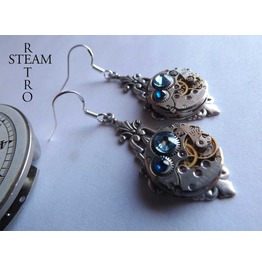 Art Deco Steampunk Earrings Blue Steampunk Earrings Art Deco Jewelry Steampunk Jewellery Steamretro