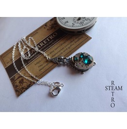 Steampunk Victorian Turquoise Pendant Necklace Steampunk Jewelry Steamretro