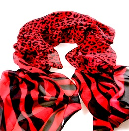 Awesome Red & Black Leopard + Zebra Print Scarf