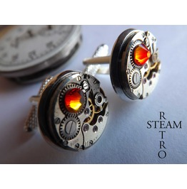 Steampunk Opal Fire Cufflinks Steamretro , Men Cufflinks Cufflinks Mens Jewelry Steamretro Steampunk Cufflinks Wedding Cufflinks