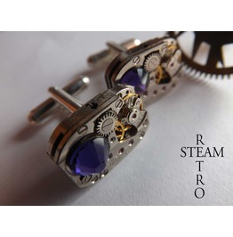 Mens Steampunk Steampunk Swarovski Purple Velvet Cufflinks Vintage Watch Movements. Vintage Upcycled Mens Cuff Links