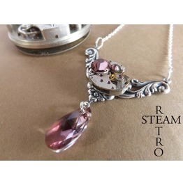 Rococo Inspired Steampunk Necklace Antique Rose Steampunk Jewelry Swarovski Crystal Necklace Steampunk Jewellery Steamretro