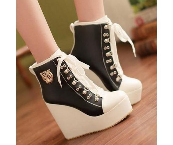 two_tone_lace_metal_badge_wedge_heel_boots_booties_3.JPG