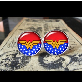 Superhero Wonder Woman Stars Cuff Links Men,Weddings,Groomsmen,Grooms,Dads,Gifts