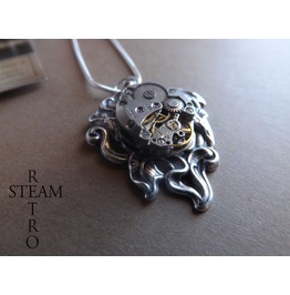Steampunk Lily Necklace Steampunk Necklace Lily Pendant Steampunk Jewelry Steamretro